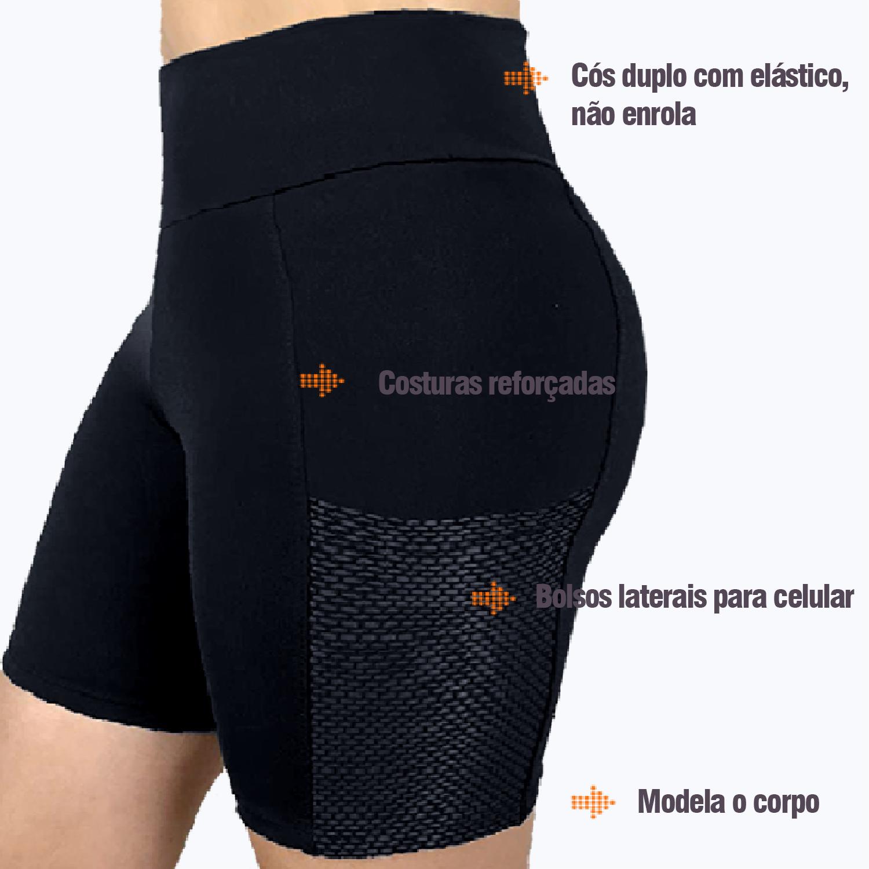 Bermuda fitness estilo ciclista com bolso lateral